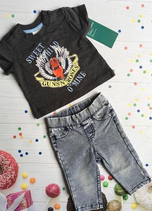 Комплект футболка и лосинки для новорожденной 56 см (0-1 мес)