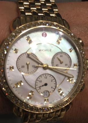 Шикарные часы хронограф с бриллиантами оригинал michele sidney