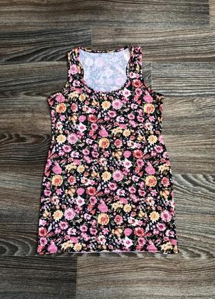 Черное мини короткое платье без рукавов сарафан в цветочный принт цветы цветочки george