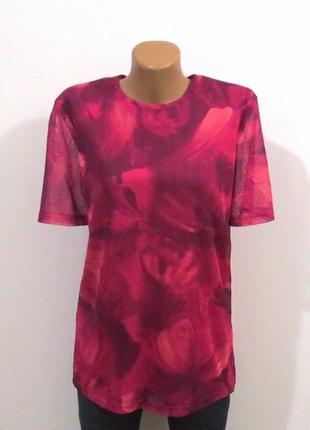 Стильная блуза футболка фуксия розы размер: 50-l, xl