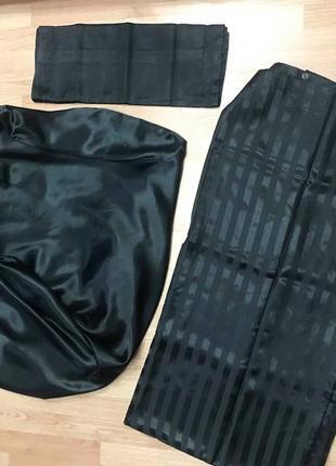 Комплект постельный атласный черный пододеяльник простынь