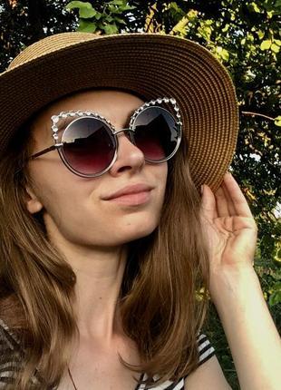 Очки солнцезащитные betsey johnson поляризационные cat eye кошечки кошачий глаз