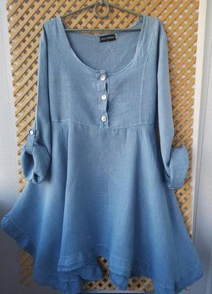 Натуральное льняное платье - туника