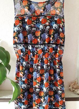 George летнее платье сарафан в пол принт цветы маки нарядное коктейльное шифоновое