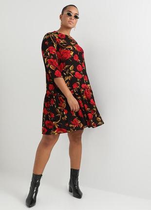 Шикарное красивое платье в розы от only carmakoma р.54