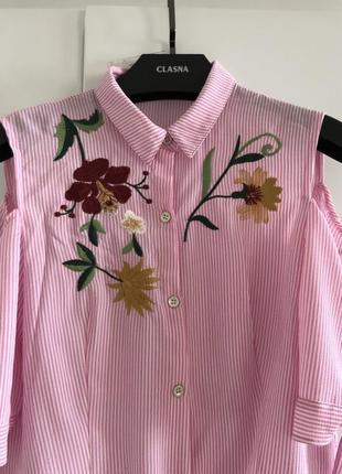 Нарядная блуза, кофточка с вышивкой, спущены рукава, размер м