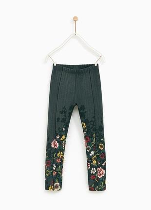 Хлопковые леггинсы лосины в ёлочку штаны в цветочный принт