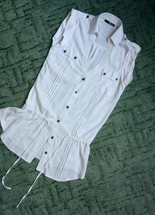Удлиненная блузка туника+ кружевной топ майка