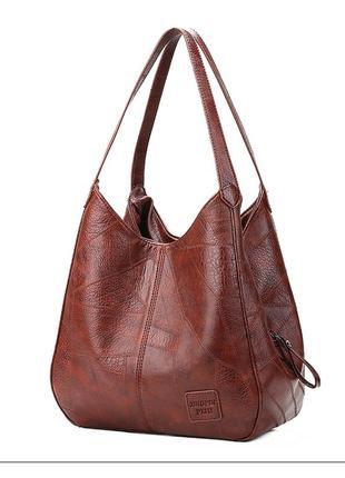 Практичная вместительная женская сумка из эко-кожи черная, коричневая