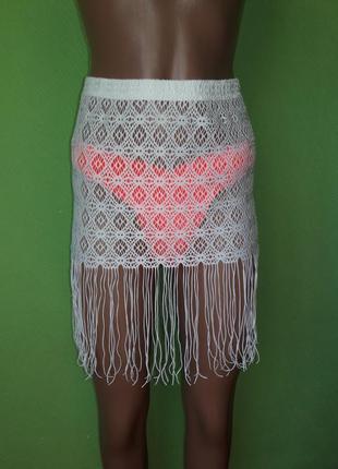 Пляжная ажурная юбка с бахромой