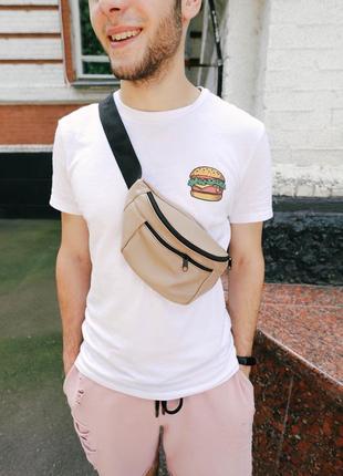 Бананка натуральная кожа.серыйцвет большая сумка на пояс плече. кожанная поясная сумка.