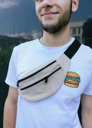 Бананка натуральная кожа, сумка на пояс на плече мягкая ,серого цвета,поясная сумочка