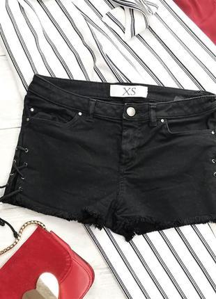 Черные джинсовые шорты со шнуровкой в192136 zara размер xs