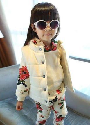 Детский костюм тройка,  тёплый,  костюм для девочки