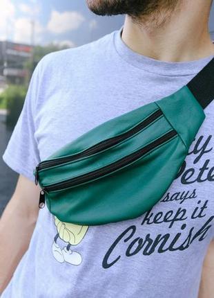 Бананка натуральная кожа, сумка на пояс на плече мягкая ,зеленого цвета,поясная сумочка .