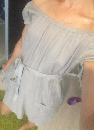 Платье лен, спущенные плечи