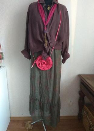 Италия. шикарная юбка в стиле бохо на подкладке