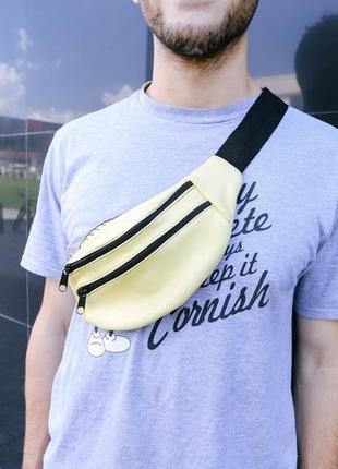 Бананка натуральная кожа, сумка на пояс на плече мягкая ,лимонного цвета,поясная сумочка