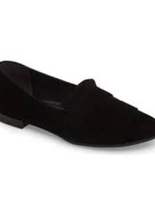 Лоферы, туфли черные  tamaris 39 р. (стелька 25 см), замш, кожа.