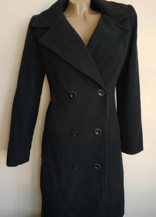 Пальто чёрное миди с пуговицами