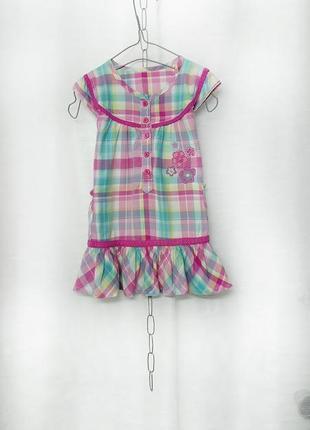 Тонкое платье в клеточку+подарок (платье в горошек