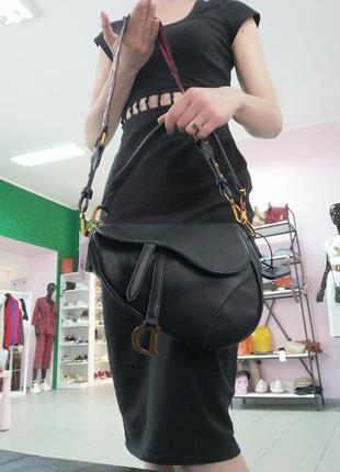Трендовая чёрная сумка седло. сумка седло клатч под диор3 фото