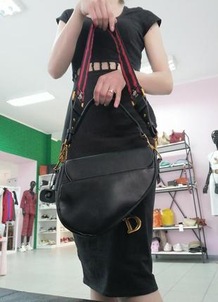 Трендовая чёрная сумка седло. сумка седло клатч под диор4 фото