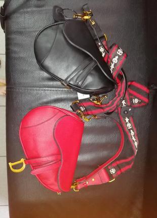 Трендовая чёрная сумка седло. сумка седло клатч под диор5 фото
