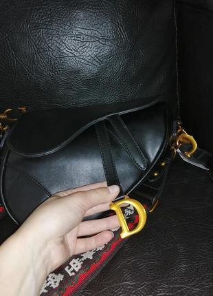 Трендовая чёрная сумка седло. сумка седло клатч под диор8 фото