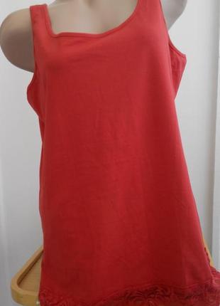 Красная коттоновая майка, комбинация, ночнушка, размер 46, janina.