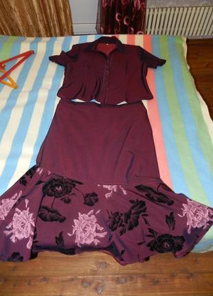 ✅костюм цвета марсала юбка