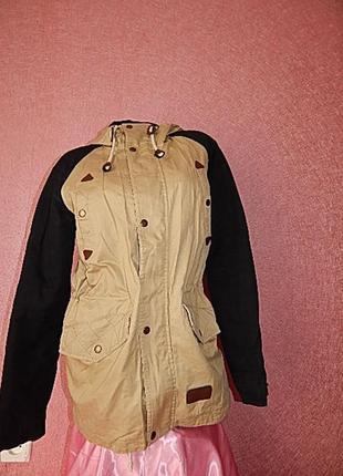 Евро парка демисезонная унисекс весна куртка пальто 46 48 44 50 бежевая черная