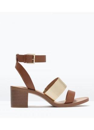 Босоножки zara trafaluc сандалии на каблуке с ремешком на щиколотке