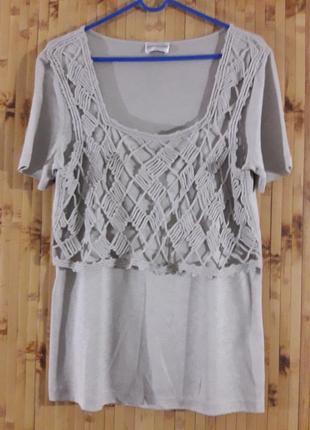 Блузка лен вискоза с плетеным верхом кофта сетка