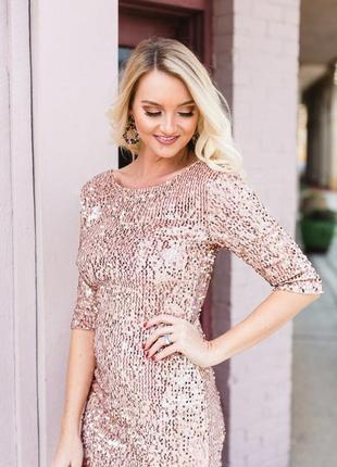 Очаровательное дизайнерское платье, пудра с паетками, esmara, германия, новое