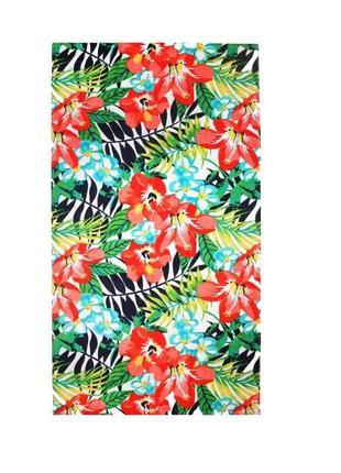 Пляжное полотенце home line велюр/махра цветы 85x160