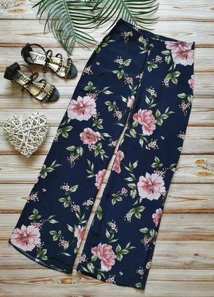 Шикарные летние широкие цветочные брюки с высокой талией