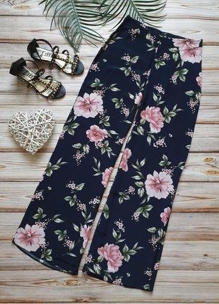 Шикарные летние широкие цветочные брюки с высокой талией3 фото