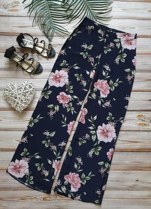 Шикарные летние широкие цветочные брюки с высокой талией6 фото
