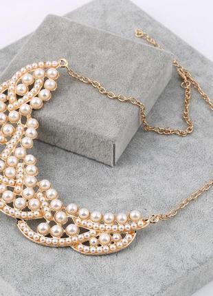 Женственное жемчужное летнее ожерелье чокер колье2 фото