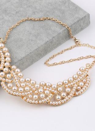 Женственное жемчужное летнее ожерелье чокер колье1 фото