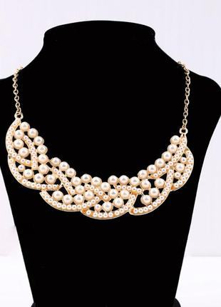 Женственное жемчужное летнее ожерелье чокер колье3 фото