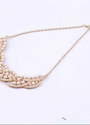 Женственное жемчужное летнее ожерелье чокер колье4 фото