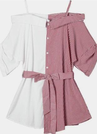 Платье рубашка в полоску1 фото