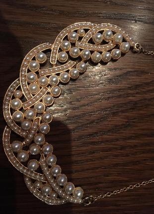 Женственное жемчужное летнее ожерелье чокер колье6 фото