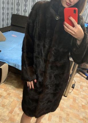 Норковая шуба трансформер коричневый цвет махагон1 фото