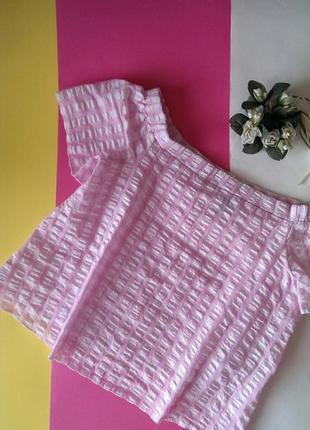 Топ/блуза в клітинку з опущеними/відкритими плечима від nl (generation), на р. s1 фото
