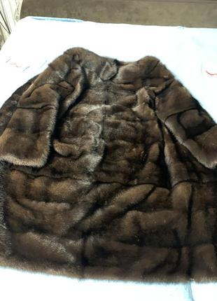 Норковая шуба трансформер коричневый цвет махагон2 фото