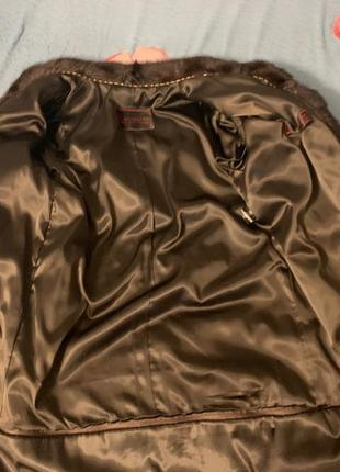 Норковая шуба трансформер коричневый цвет махагон4 фото