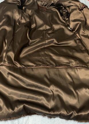 Норковая шуба трансформер коричневый цвет махагон3 фото